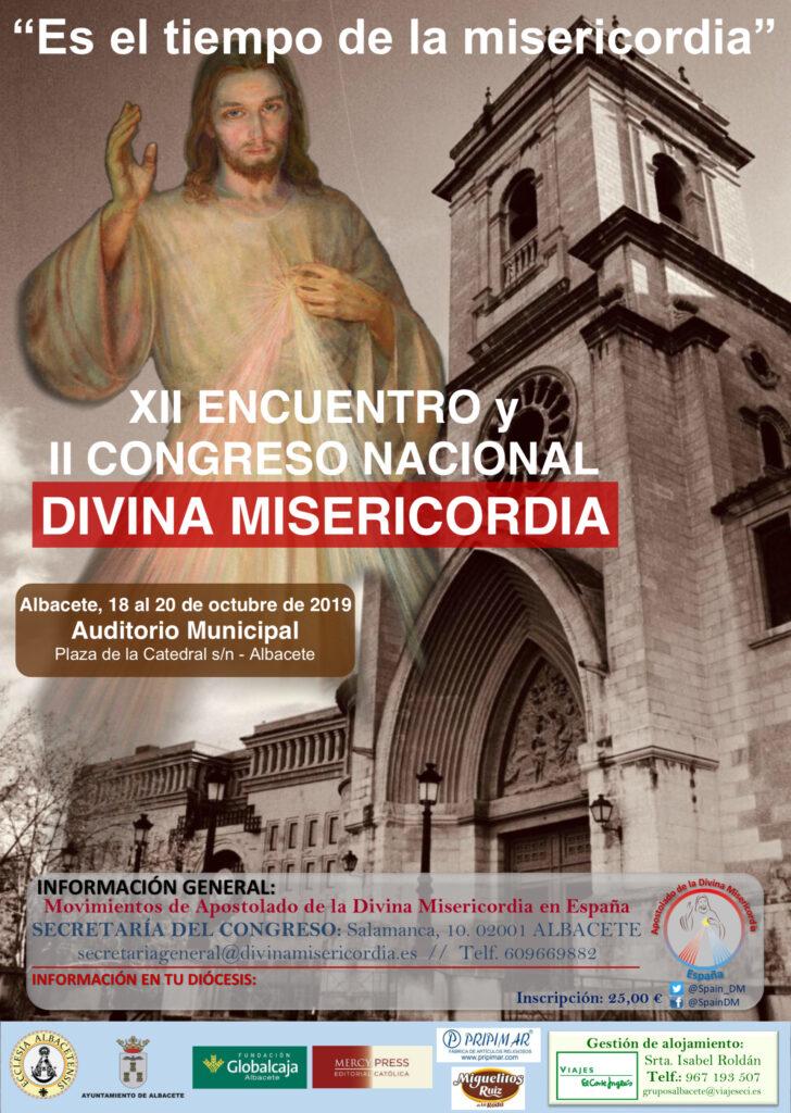 Cartel del II Congreso Nacional de la Divina Misericordia en España- Albacete 18-20 Octubre 2019